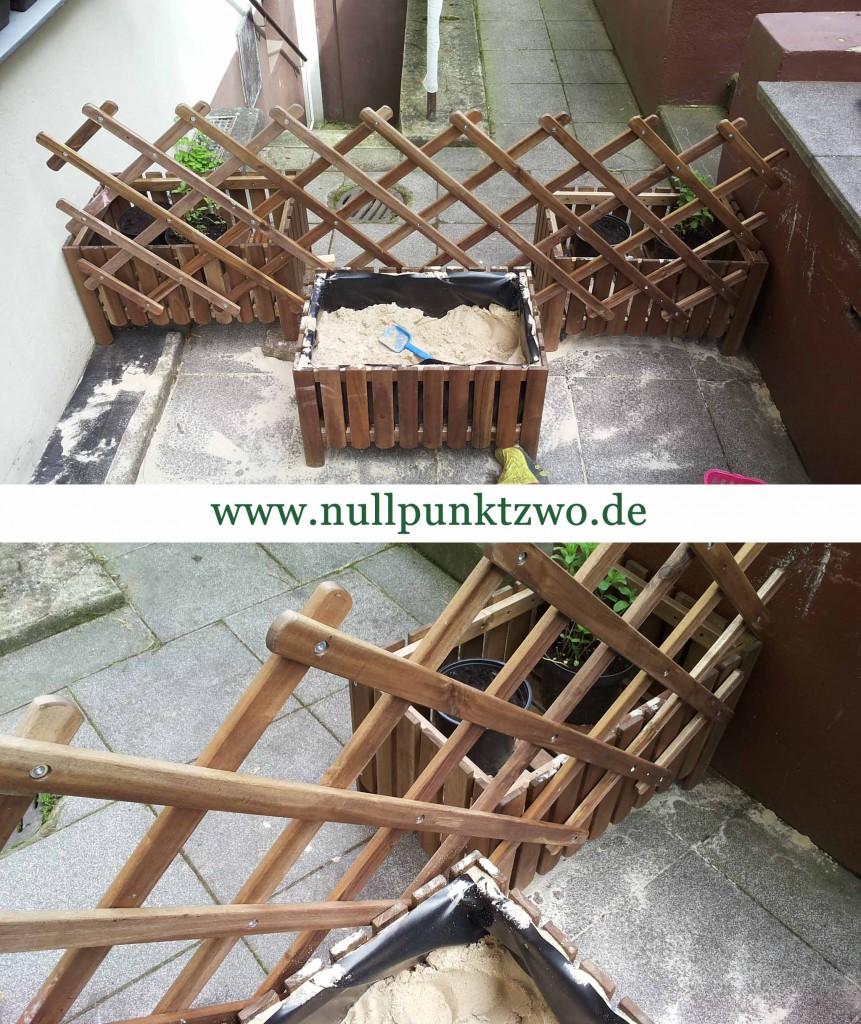 Terrasse Kindersicherung mit Pflanzkästen und Rankgitter von IKEA