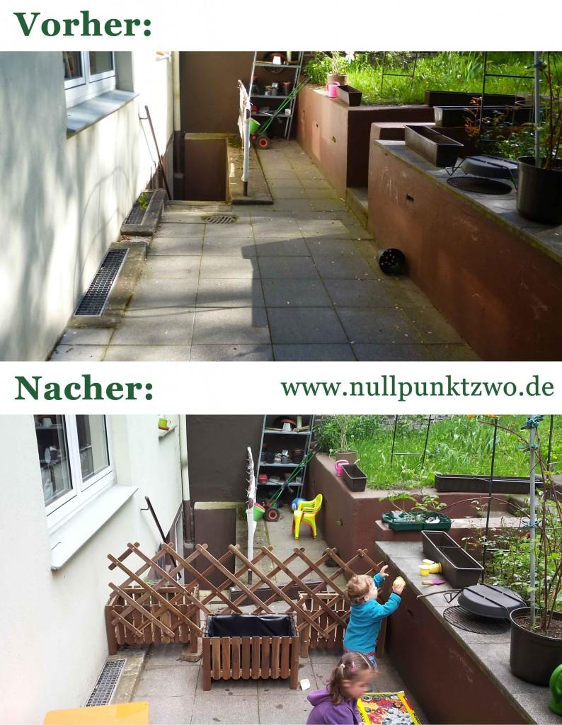 Terrasse vorher-nacher | Kindersichere Absperrung einer Kellertreppe OHNE Bohren und Dübeln