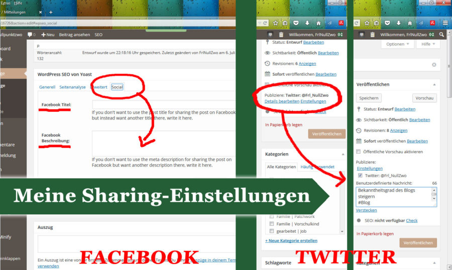 Sharing Einstellungen Facebook & Twitter