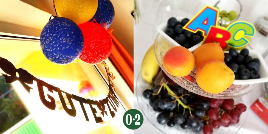 Deko und Etagere mit Obst