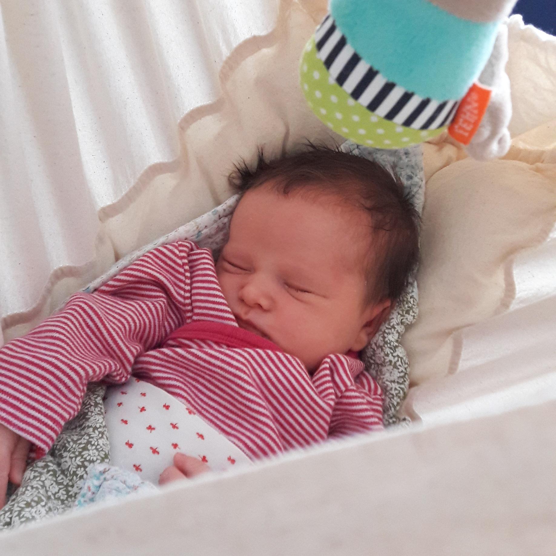 Schlafendes Baby in Federwiege