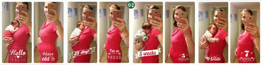 Bauch in den ersten Wochen nach der Geburt des 4. Kindes