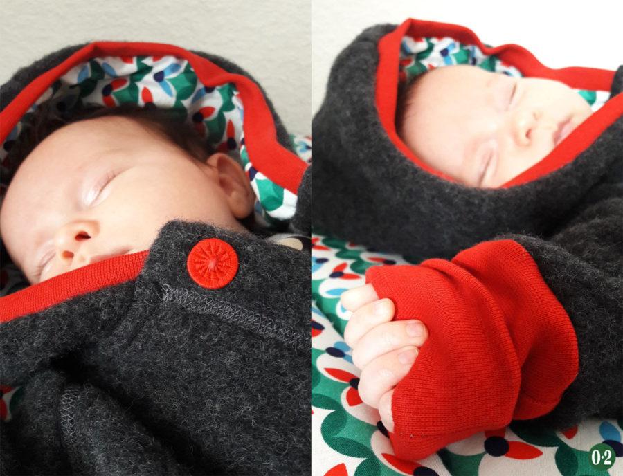 Wollfleeceanzug mit Baby