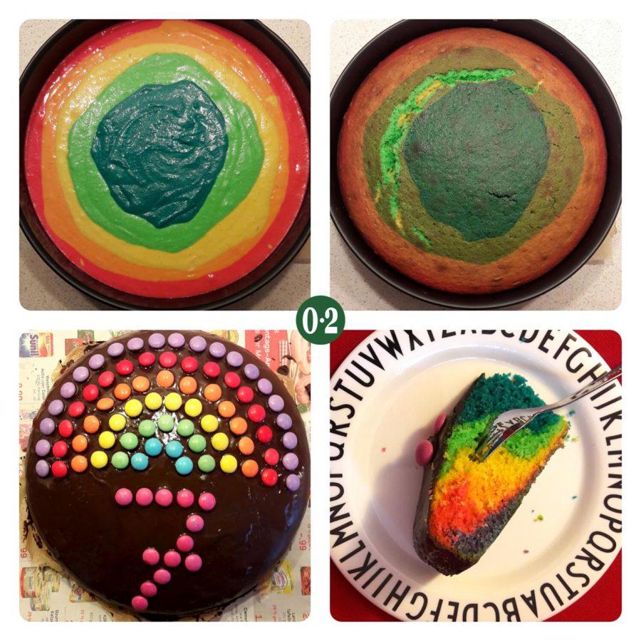 Regenbogenkuchen mit Verzierung