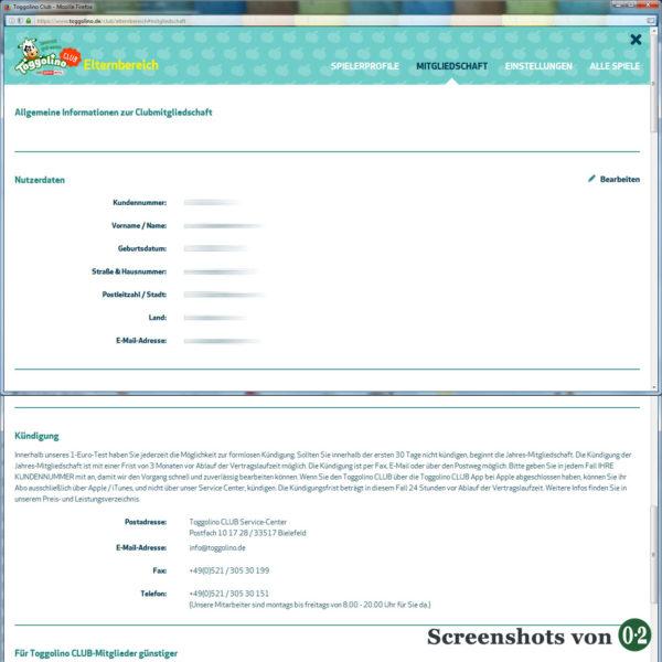 Mitgliedschaft im ToggolinoCLUB (Screenshots vom PC)
