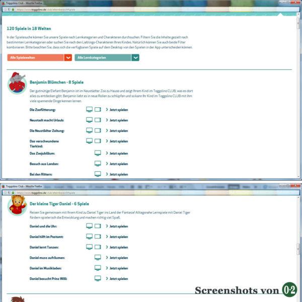 ToggolinoCLUB Spielauswahl und Verfügbarkeit (Screenshots vom PC)