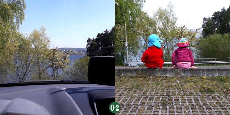 Parkplatz der Jugendherberge am Möhnesee mit Aussicht