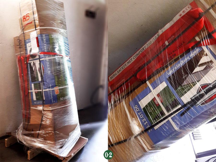 Anlieferung eines BERG- Trampolins