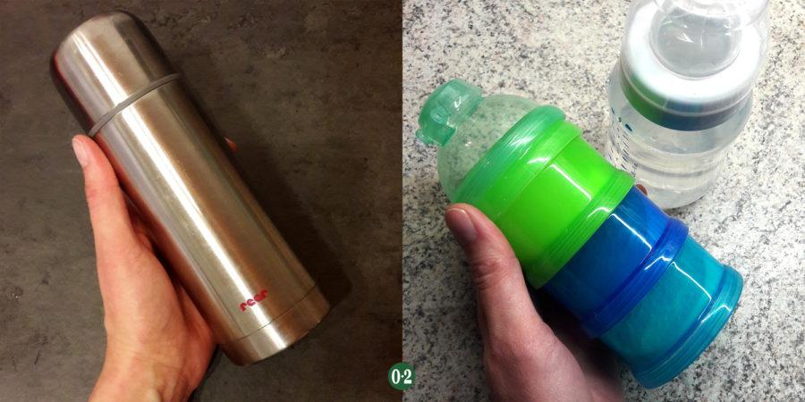 Babyflaschenzubehör: Thermoskanne und Milchpulverportionierer