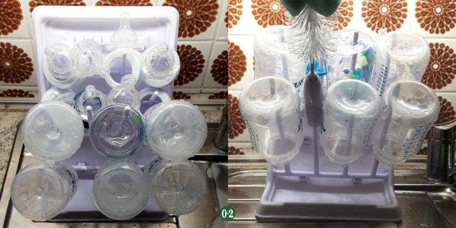 Abtropfgestell mit gereinigten Milchflaschen für Babys