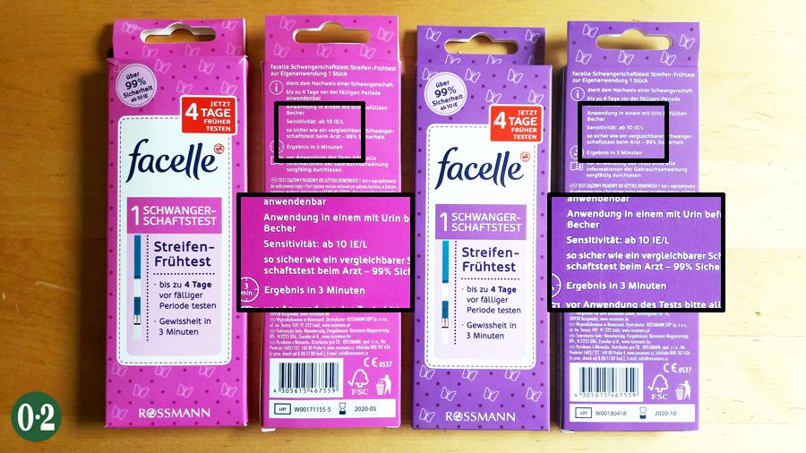 2019 | Schwangerschaftstest Facelle: pinke und lila Verpackung, beides 10er