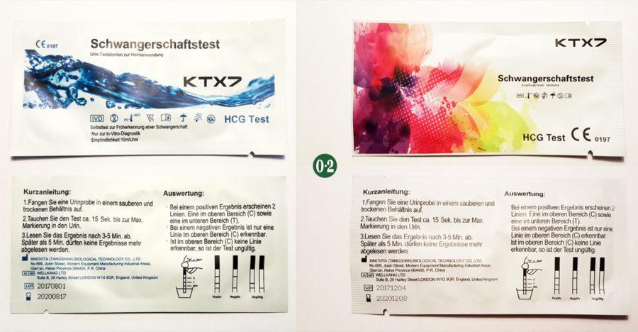 2019 | Schwangerschaftstest KTX7 10er: blaue Verpackung und bunte Verpackung (professional)