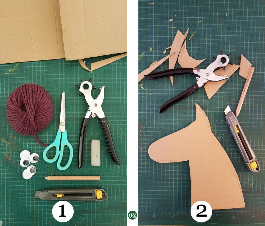 Materialien bereitlegen. Auf der Pappe den Umriss eines Pferdekopfes etwa in Höhe von DINA4 (30cm) aufzeichnen und ausschneiden.